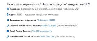 контакты почтовой конторы