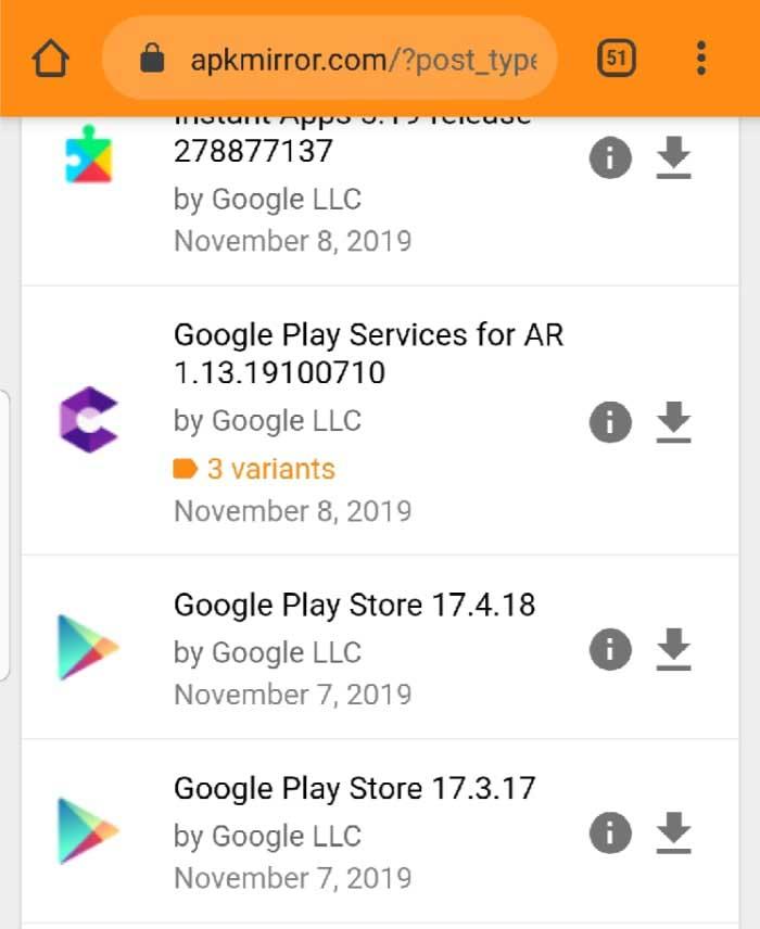 список приложений на Андроид