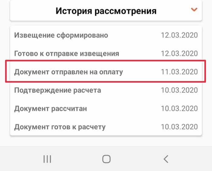 история статусов в ЛК ФСС