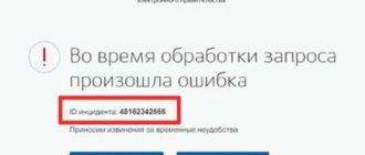 сообщение о ошибке на gosuslugi.ru