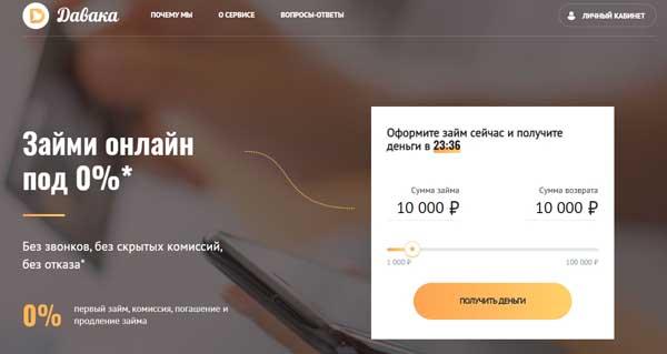 главная стараница сайта по подбору кредитов